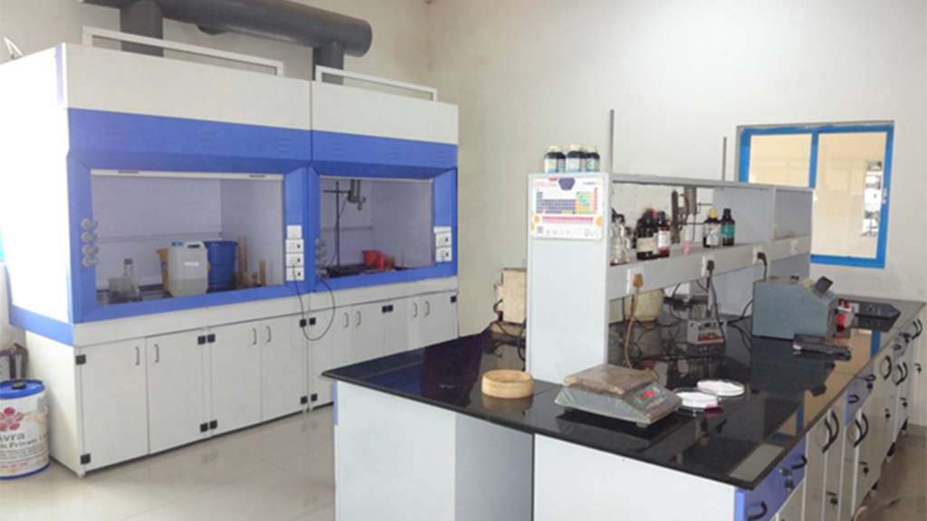 fume hood for chemistry reaction and working bench for analysis