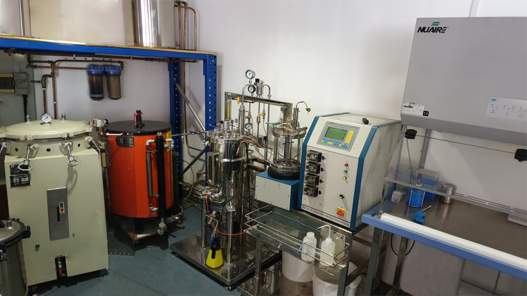 display of boiler with fermenters and Class 2 biological hood