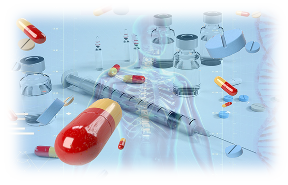 picture displaying Injection with Tablets Capsules Vials Human body and helixes