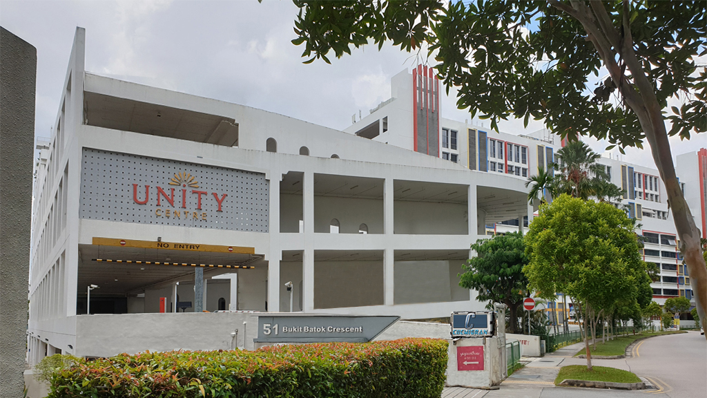 Building structure of Unity Centre at 51 bukit batok cresent and logo of chemigran