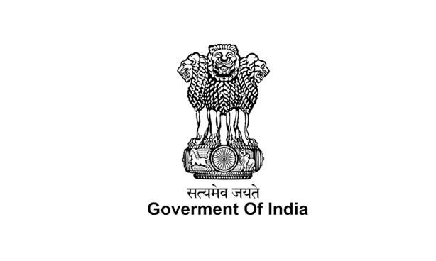 logo of Government of India with statute of four lions standing back to back mounted on an abacus with a frieze carrying sculptures of an elephant & a galloping horse
