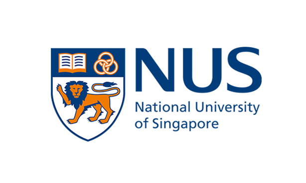 Logo of NUS with National University of Singapore and lion for lion city representing Singapore