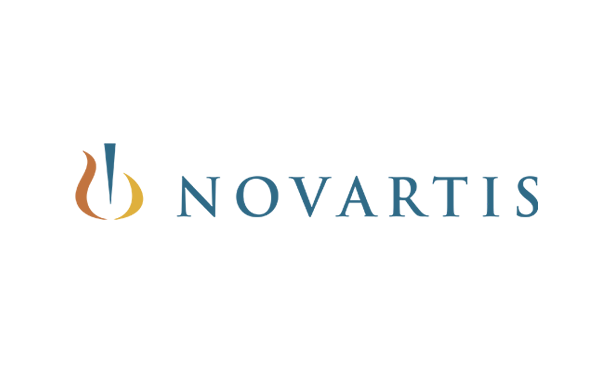 Novartis logo consists of a wordmark, a graphic colorful icon and a tagline, saying caring and curing