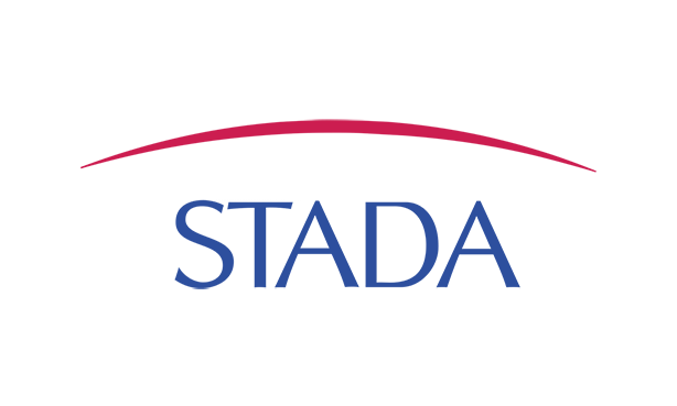 Logo of Stada in blue words and red crossed above