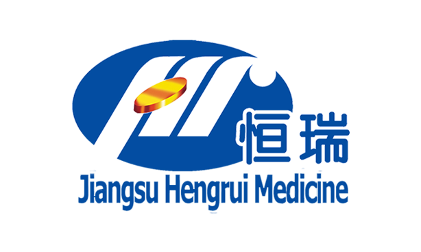 logo with golden tablet HR abbreviation and jiangsu hengrui medicine and 恒瑞