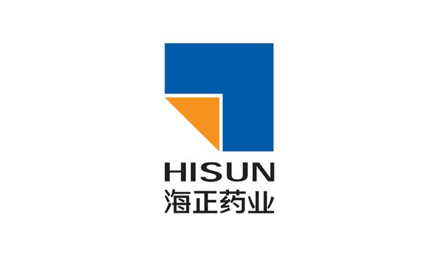 Logo of Hisun and 海正药业 with blue page & folded orange edge