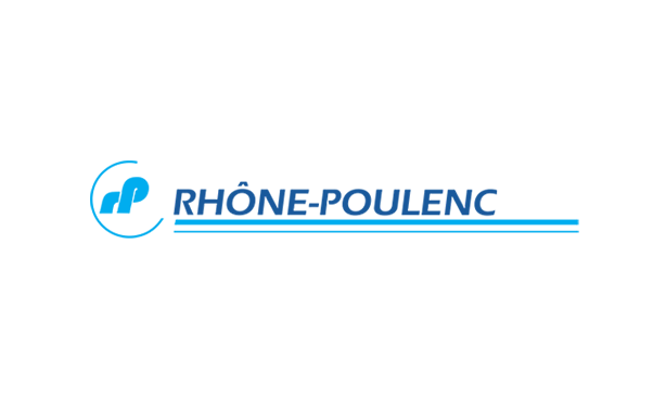 logo of Rhone-Poulenc in words & RP symbol